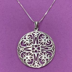 Sterling Silver Box Chain and Round Scroll Pendant